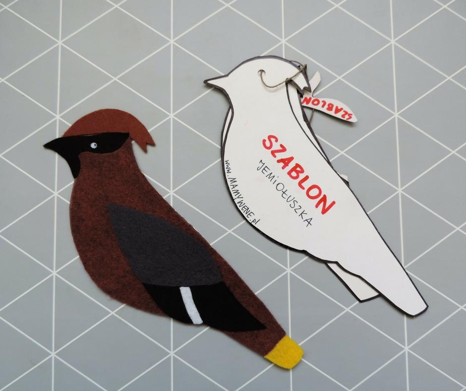 Ptak jemiołuszka zrobiona z filcu i szablon