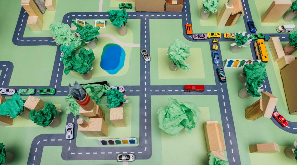 Makieta miasta zbudowanego przez dzieci